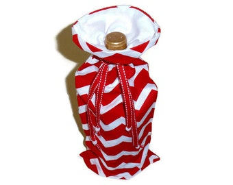 Wine Bottle Bags, Wine Bottle Holder, Fabric Wine Gift Bag, Wine Gifts, Wine Bottle Carrier, Red Chevron Wine Bag, Christmas in July