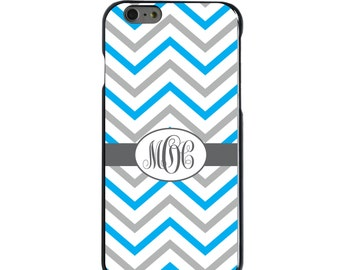 Hard Snap-On Case for Apple 5 5S SE 6 6S 7 Plus - CUSTOM Monogram - Any Colors - Grey White Blue Chevron Stripes
