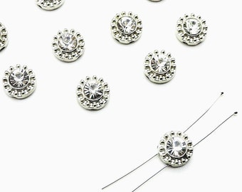 Large Faceted Crystal, Sew on Rhinestones, Clear Crystal Beads, Bridal Supplies, Clear Rhinestones, Round Rhinestones, Silver Metal Buttons