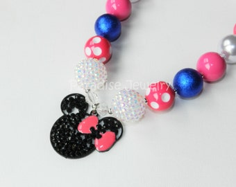 Minnie Mouse Inspired Bubblegum Bead Necklace, Chunky, Hot Pink White Blue, Little Girls, Birthday Jewelry, Disney Cruise Outfit