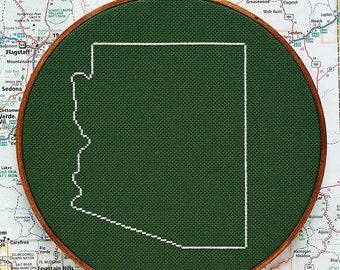 State of Arizona map, CROSS STITCH PATTERN