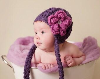 Earflap Girl Hat, Baby Earflap Hat, Purple Earflap Hat, Flower Earflap Hat, Purple Newborn Hat, Chunky Earflap Hat, Baby Girl Hat, Girl Hats