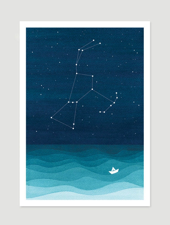Watercolor Painting Orion Constellation Giclee Print Nautical