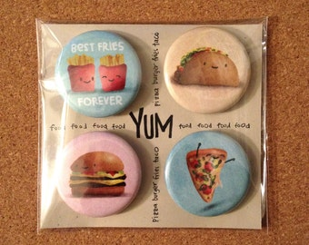 FAST-FOODIE Magnet Set of 4.