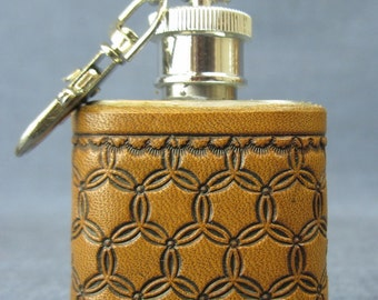 1 oz Key Chain Tooled Leather Flask