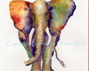 African Elephant, fine art, Giclee Watercolour Painting Print A4. Archival quality inks