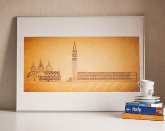 Piazza San Marco print - St Mark's Square Venice poster - old Venice drawing – Venice print home décor –50s drawing Piazza San Marco Venice