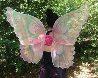 OOAK Faerie Princess Pink Sparkle Wings  Adult XL size