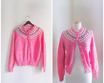 SALE Properly Prim // Vintage 70s Sweater Cardigan // 1970s Pink Hand Knit Button Up Cardigan Sweater