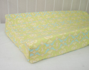 SALE! 30% OFF! Mint Lime Green Aqua Turquoise Changing Pad / Mat Cover