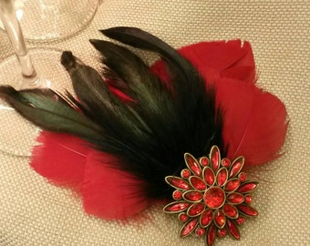 Red and Black Feather Hair Ornament