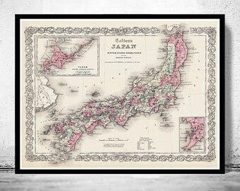 Vintage Old Map of Japan, 1855, Asia Antique map Japan Sea