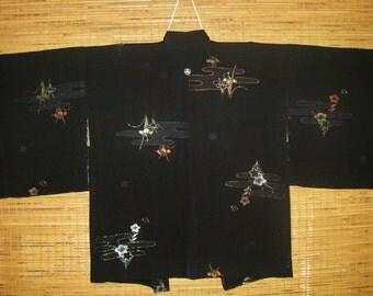 HAORI SILK URUSHI Vintage Japanese Haori Jacket Woven Urushi Iris Flowers 1 Mon Black Silk Haori Kimono Jacket Vintage Japanese Silk Haori