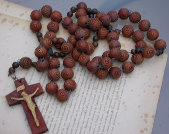 Huge French antique 19th century carved wooden rosary religious cross crucifix ornate olive wood carved beads sacred heart virgin mary Jesus