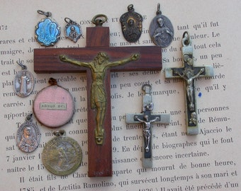 11pcs French antique large lot religious medals silver blue enamel virgin mary Lourdes sacred heart Jesus cross crucifix Gothic Bronze cross