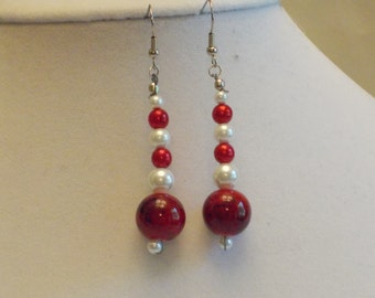 Red, White and Pearls Earrings