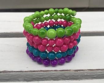 Purple Blue Pink and Green Beaded Wrap Bracelet