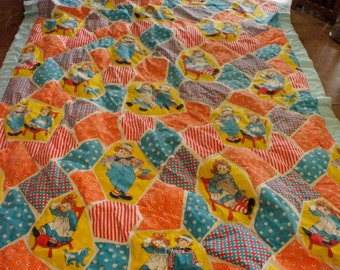 Vintage Raggedy Ann Andy Bedding Twin sheets Handmade Comforter Valance Tiers Bobbs Merrill Like New