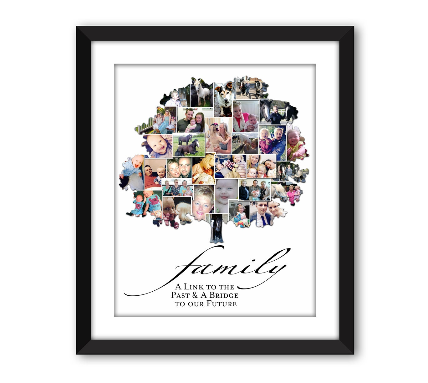 Family Tree Heritage Ancestry Ancestors Photo Collage Wall Art