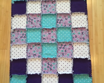 Baby flannel quilt, newborn blanket, teal purple, crib, polka dots, nursery bedding, baby shower;10% of PP to charity of buyer's choice