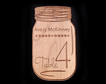 Wood Mason Jar Place Cards