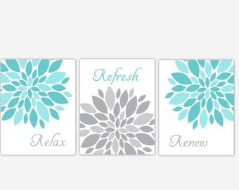 Teal Gray Bath Wall Art Floral Bathroom Prints Relax Refresh Renew Flower  Burst Spa Bath Decor