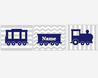Train Baby Boy Nursery Art Navy Blue Train Personalized Art Boy Room Wall Decor Train Nursery Decor Yellow Blue Boy Room Art Boy Nursery