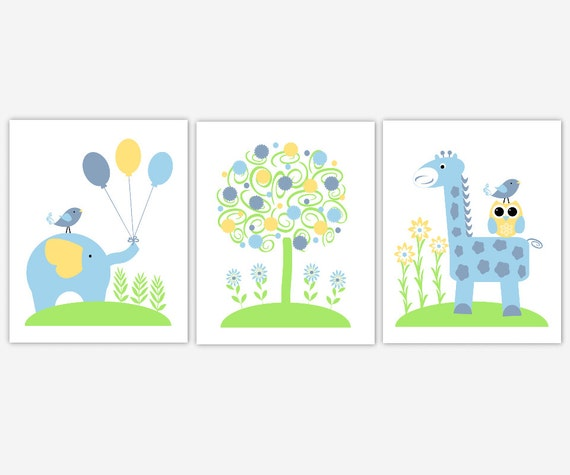 Boy Room Wall Decor Baby Nursery Animal Wall Decor Nursery Prints