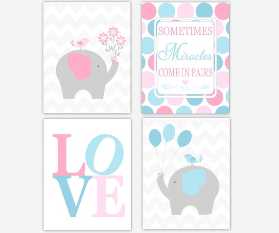 Elephant Twin Nursery Wall Art Nursery Room Decor For Twins: Twins Baby Nursery Decor Pink Blue Elephants Sometimes
