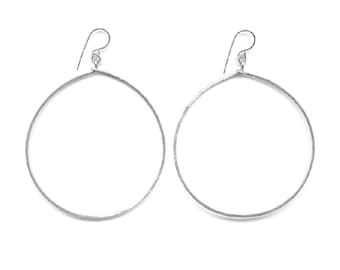 E0573S Hammered Sterling Silver Extra Large Circle Earrings