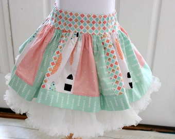 Mint pink gold skirt Girls feather pink mint green gold black feathers skirt for for little girl birthday back to school family pictures