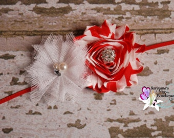 Red White Candy Stripe Peppermint Shabby Flower Tulle Rhinestone Headband, Baby Headband, Flower Girl, Vintage - SB-040