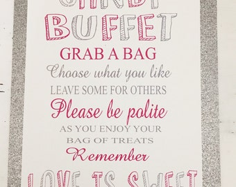 Wedding Candy Buffet Welcome Sign, Candy Bar, Candy Buffet Party Sign