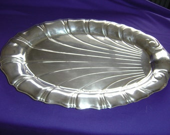 """Neptun Silver Plate Oval Tray 16"""" x11"""",  By 1847 Rogers Bros"""