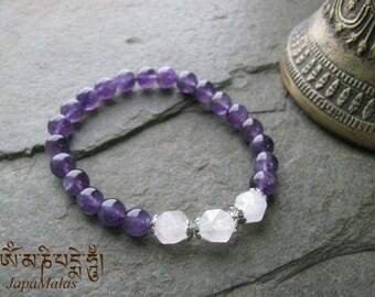 Amethyst Bracelet Mala with Rose Quartz bead purified & blessed mala