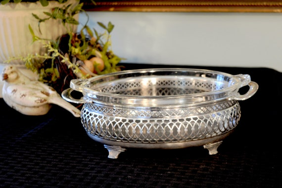 Meriden Silver Plate Oval Buffet Stand Serving Dish Holder