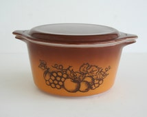 Pyrex Old Orchard Casserole with Lid, Vintage Pyrex Ovenware, Brown Ombre Fruit