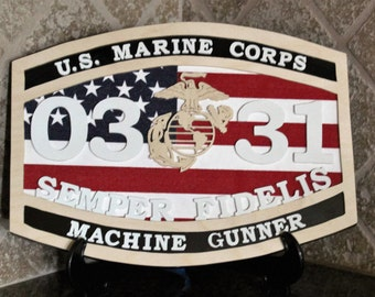 Marine Corps Wood Plaque, Custom Wood Sign For Military Gift, Semper Fidelis, Valentines Day Gift, Military Decor, USMC Gift, Military