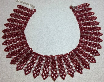 Handmade Raspberry Beaded Necklace