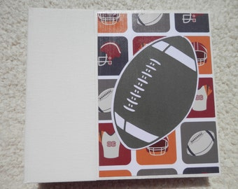 6x6 Football Scrapbook Chipboard Album in Grey Red and Orange