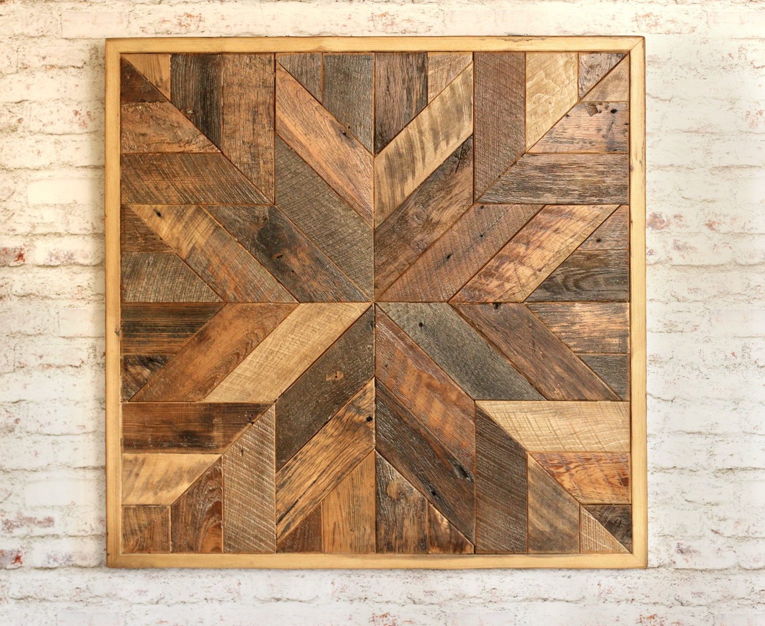 Reclaimed wood quilt square inch geometric wall art