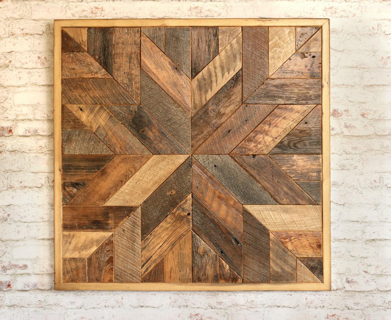 Wood Circle Wall Art ~ Reclaimed wood quilt square inch geometric wall art