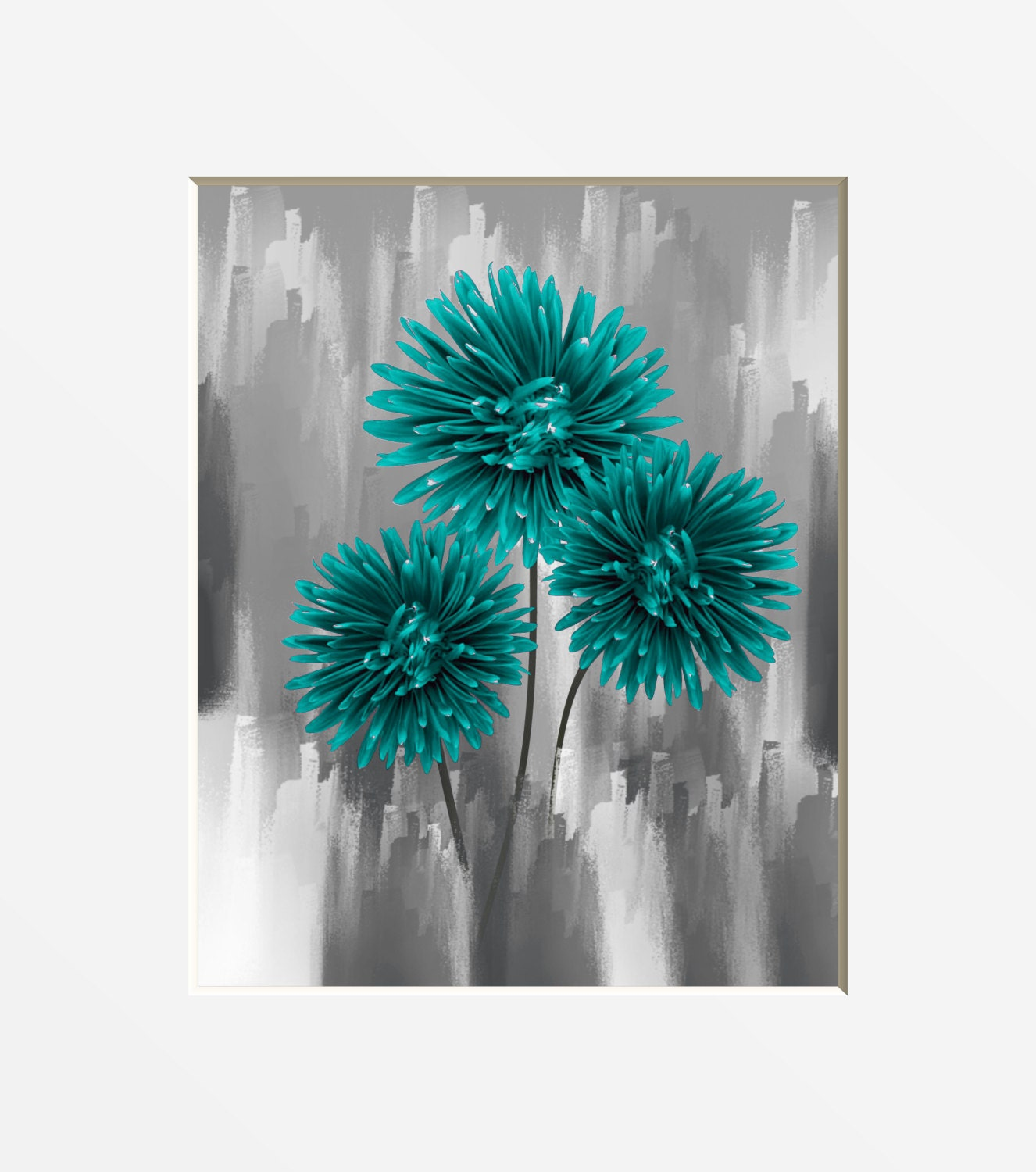 teal gray floral wall art photography home decor modern wall. Black Bedroom Furniture Sets. Home Design Ideas