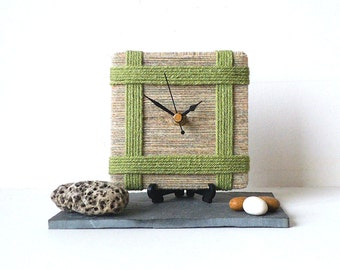 Unique Desk Clock - Small Wall Clock Beige Cream Shetland Wool and Lime Green Wool Yarn