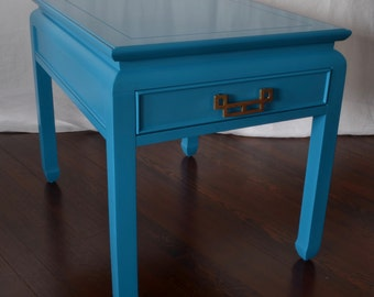 Bright Blue Vintage Chinoiserie Side Table by Century Furniture