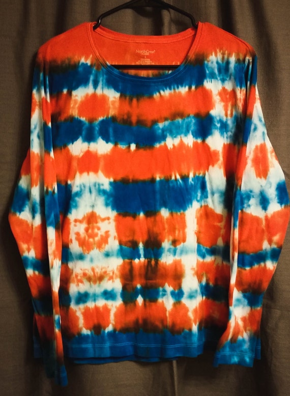 Tied Dye Long Sleeve Shirt, Blue & Orange, Adult XL