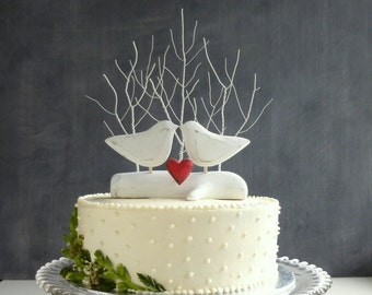 Tree Wedding Cake Topper with Love Birds, Bird Cake Topper, White Wedding Decor