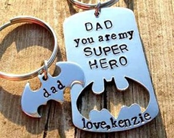 Husband Valentines gift, Stamped super hero keychain, personalised gift for boyfriend, best gift ideas for dad, father birthday gift ideas