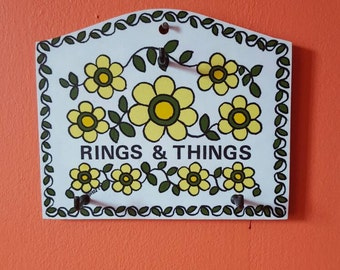 Vintage 1970's Taunton Vale yellow floral rings and things wall hook