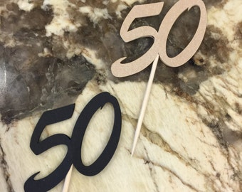 12 - 50th Bday Cupcake Toppers - Gold, Silver, White, or Black
